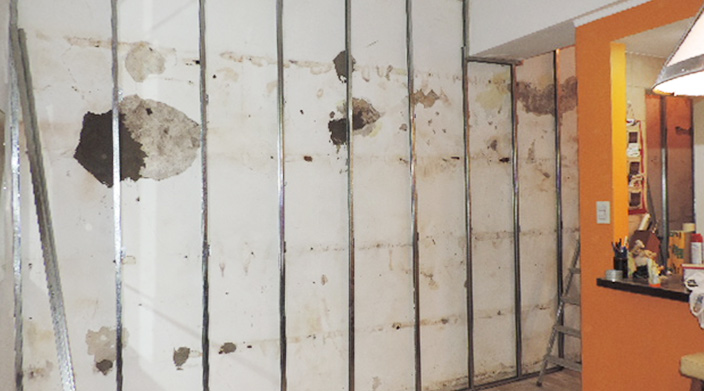 Como trabajar con durlock revestir una pared con humedad - Papel para paredes con humedad ...